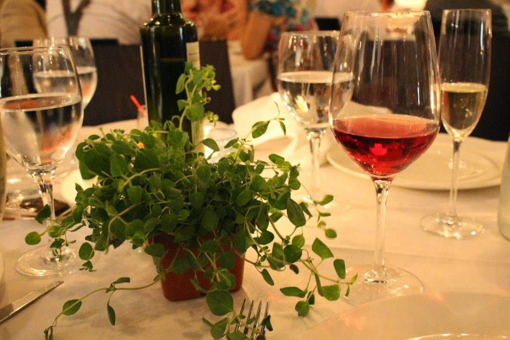 fresh herbs, rose wine