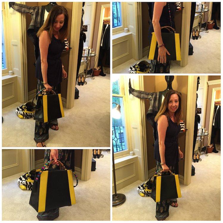 At Yuta Powell modeling a Caroline de Marchi bag.