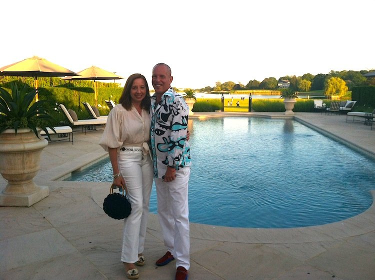 Tracy with Phil Grossman in the Hamptons at Midsummer Night Drinks benefit for God's Love We Deliver