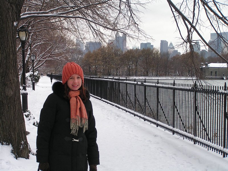 Tracy New York Central Park snow