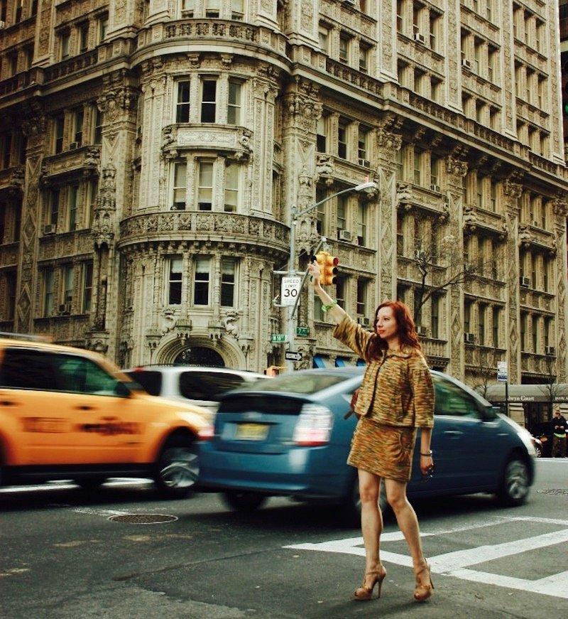 tracy hailing a taxicab in Manhattan, NYC